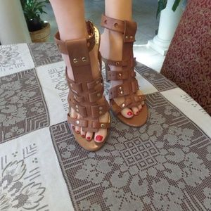 BCBGirls Brown Leather Stiletto Cage Sandals 9.5M